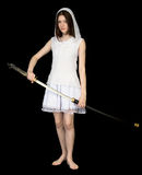 Girl with the big Japanese sword Royalty Free Stock Images