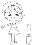 Girl with a big lipstick coloring page Stock Photo