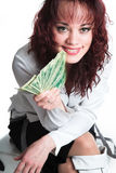 The girl with the big money Stock Photos