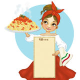 A girl with big plate of spaghetti Royalty Free Stock Photos
