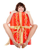 Girl with big red of gift box. Isolated Royalty Free Stock Photography