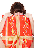 Girl with big red of gift box. Isolated Royalty Free Stock Images