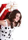 Girl with big red gift box. Stock Images