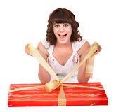 Girl with big red  gift box. Stock Photography