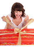 Girl with big red gift box. Stock Photos