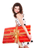 Girl with big red gift box. Royalty Free Stock Photos