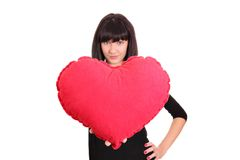 Girl with big red heart Stock Photos