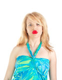Girl with big red lips Stock Photo