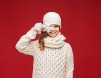 Girl with big snowflake Royalty Free Stock Image