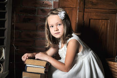 Girl with a big stack of books Stock Photography