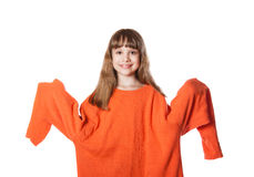 Girl in big sweater Royalty Free Stock Photo