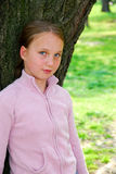 Girl and big tree Royalty Free Stock Photography