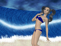 Girl and big wave Stock Image