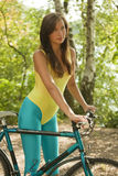 Girl with bike Royalty Free Stock Image