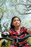 Girl and bike Royalty Free Stock Photo