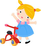 Girl and bike. Illustration of cute girl and bike,toy Royalty Free Stock Photo