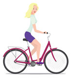 Girl and bike. Young beautiful girl with her bike Royalty Free Stock Images