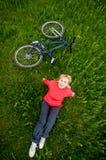Girl with bike stock photos