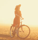 Girl on a bike Royalty Free Stock Photography