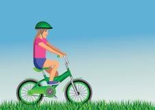 Girl on bike. Ecologist girl on green bike Royalty Free Stock Images