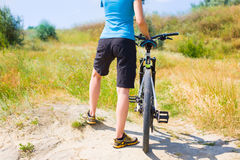 The girl on the bike. Royalty Free Stock Photos