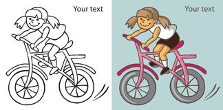 Girl on the bike. Hand drawing girl quickly rides a Bicycle on white and blue background Stock Photography
