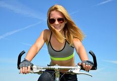 Girl on bike Royalty Free Stock Photography