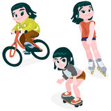 A Girl on a bike, rollerblading, skateboarding Stock Images
