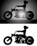 Girl on bike silhouette. Vector illustration of a girl on bike silhouette Royalty Free Stock Photography