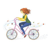 Girl on bike. Sports girl rides a bicycle in autumn stock illustration