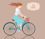 Girl on bike. Vector illustration of beautiful girl on bike Stock Photography