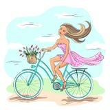Girl on the bike - vector illustration Stock Photo