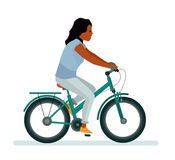Girl on bike. White background. African American people. Vector illustration flat cartoon style Royalty Free Stock Photo