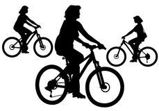Girl on bike. Woman rides a bicycle on a walk.  Silhouette on a white background Stock Photography