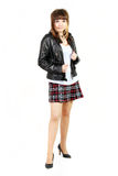 Girl Biker. The girl in a leather jacket stock images