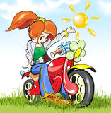 Girl-biker in the green field. This is a green filed near by town. Young beautiful girl-biker standing on the grass stock illustration