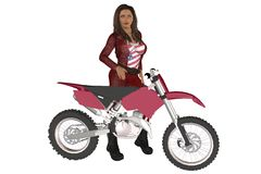 Girl biker. Woman in red leather pants and jacket posing on a motorcycle Royalty Free Stock Photo