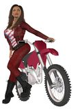 Girl biker. Woman in red leather pants and jacket posing on a motorcycle Stock Photos