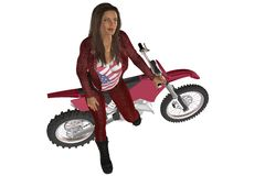 Girl biker. Woman in red leather pants and jacket posing on a motorcycle Stock Photo
