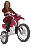 Girl biker. Woman in red leather pants and jacket posing on a motorcycle Royalty Free Stock Image