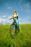 Girl biking Stock Photo