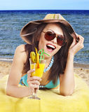 Girl in bikini on beach . Stock Image