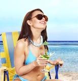 Girl in bikini on beach. Royalty Free Stock Photography