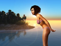 Girl in bikini on beach Stock Photography