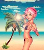 Girl in Bikini on Beach Royalty Free Stock Photos