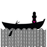 Girl with bikini in boat silhouette illustration Stock Photography