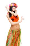 Girl in bikini dance wearing flowers crown Royalty Free Stock Image