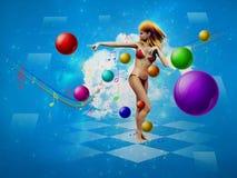 Girl in bikini dancing Stock Image