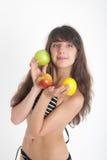Girl in bikini with fruit Stock Photo