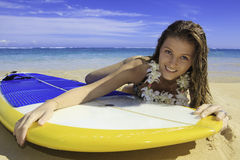 Girl in bikini with her paddle board Royalty Free Stock Photo